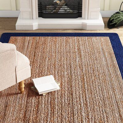 Null A Navy Blue Border Frames The Natural Honey Tone Of This Handmade Jute And Sisal Area Rug Classic In Colo In 2020 Braided Rug Diy Beige Area Rugs Jute Area Rugs