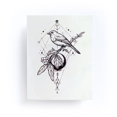c27b061c4d157 Black Moon・Bird Temporary Tattoo Sticker