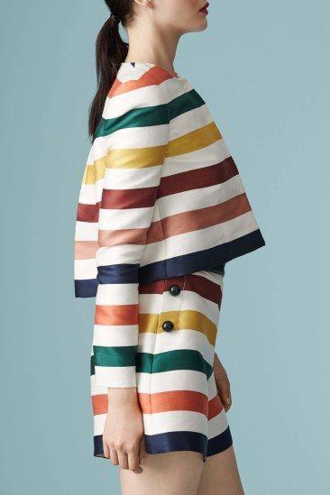Resort 2017 | Carolina Herrera | Vintage inspired high-waist striped shorts with wide crop top | The Luxe Lookbook