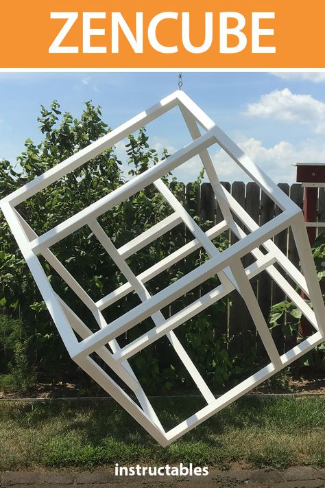 This decorative zencube has kinetic space in an open cube with no moving parts.  #Instructables #decor #art #meditate #garden