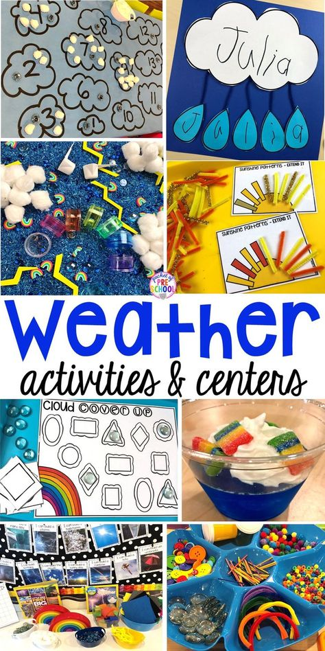 All our favorite weather themed activities (literacy, math, STEM, science, sensory, fine motor). Designed for preschool, pre-k, and kindergarten kiddos. #weathertheme #preschool #prek #kindergarten