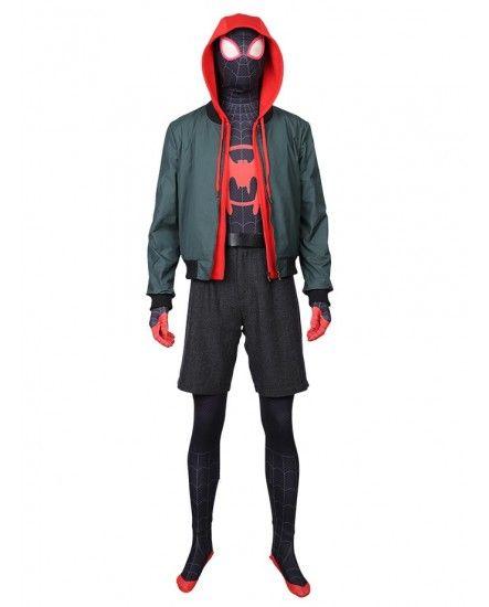 Into the Spider-Verse Hoodie Sweatshirt Cosplay Costume Coat Jacket Spider-Man