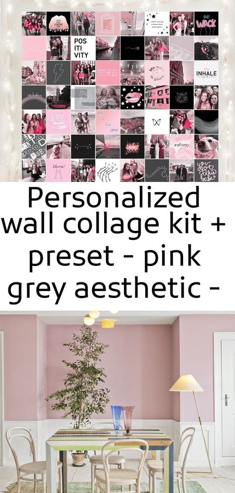 Personalized wall collage kit + preset - pink grey aesthetic - trendy college dorm decor