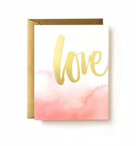 Gold Foil Love, Ombre Watercolor Card by JulieSongInk
