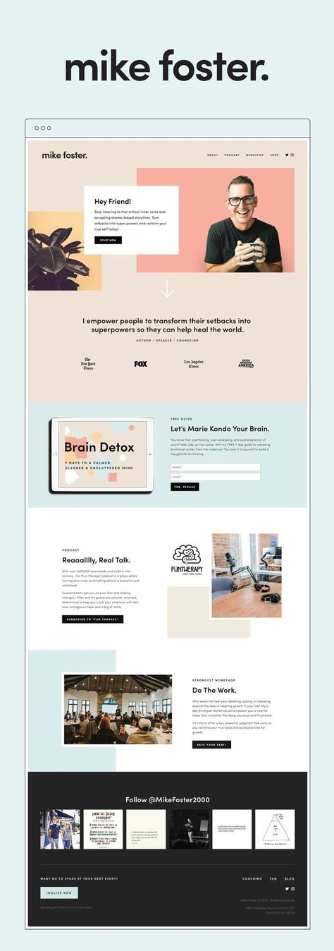 Minimal Squarespace Website For Author And Speaker Mike Foster — GoLive: Squarespace Website Templat