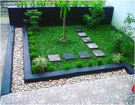 model taman depan rumah minimalis sederhana modern lahan