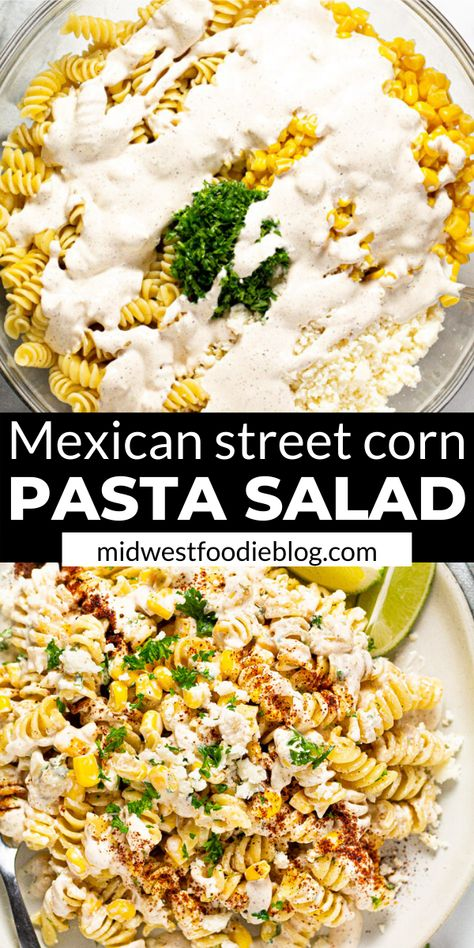 This Mexican Street Corn Pasta Salad is loaded with corn, cotija, and a deliciously tangy dressing. It's quick, easy and uses mostly pantry ingredients! Pasta Dishes, Food Dishes, Corn Pasta, Cooking Recipes, Healthy Recipes, Kitchen Recipes, Easy Cooking, Cooking Tips, Easy Recipes