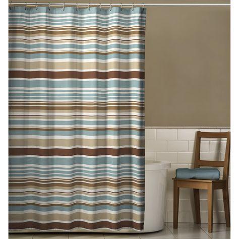 Meridian Polyester Shower Curtain Mocha Blue Walmart Com