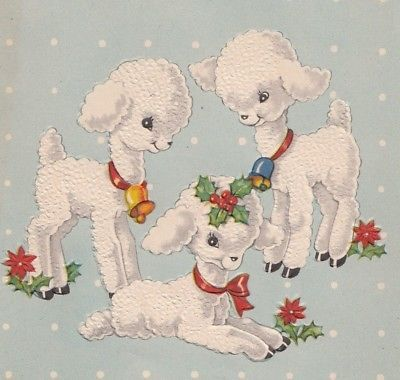 Adorable Little Baby Lamb Vintage Christmas Greeting Card Vintage Christmas Cards Retro Holiday Cards Vintage Christmas Greeting Cards