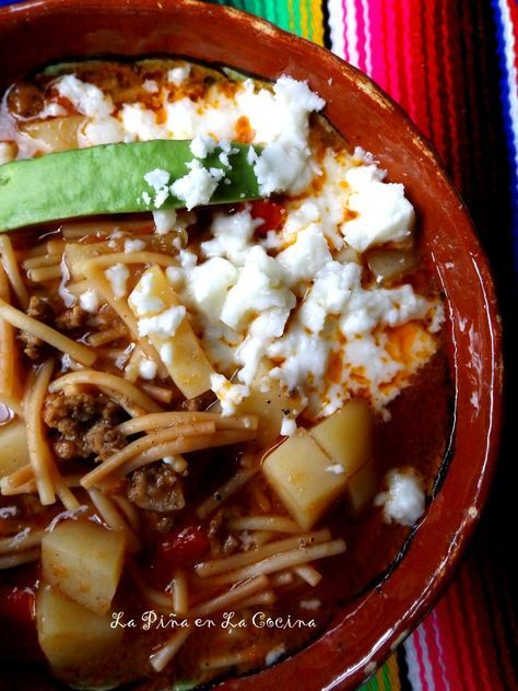 Sopa De Fideo Con Carne Y Papa Beef And Pasta Soup La Pina En La Cocina Recipe Fideo Soup Recipe Mexican Food Recipes Soup With Ground Beef