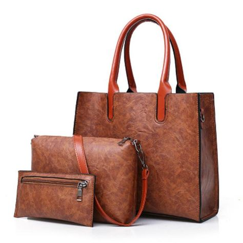 80f43def02 Brown 3 PCs Set PU Leather Ladies Hand Bags - High Street Whistles