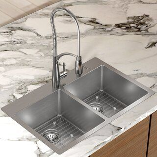 Wessan 1 Hole Double Sink Grid 31 5 X 20 8 X 9 Stainless