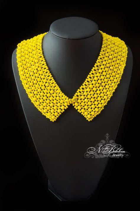 Items similar to Beadwork yellow neon collar. Beaded collar on Etsy