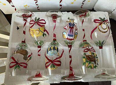 Vintage Christmas Wine Glass 12 Days Of Christmas Day 1 12 Block Complete Ebay Christmas Wine 12 Days Of Christmas Christmas Wine Glasses