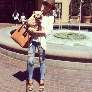 Chrissy Teigen with Celine Camel Boxy Bag