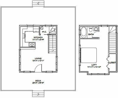 16x20 Tiny House 1 Bedroom 1 5 Bath Pdf Floorplan 579 Sqft Model 11a Floor Plans Tiny House Floor Plans Small House Design