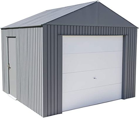 Amazon Com Sojag 12 X 10 Everest Galvalume Steel With Extra Tall Walls Garage Storage Building Charcoal In 2020 Steel Garage Storage Building Kits Metal Garages