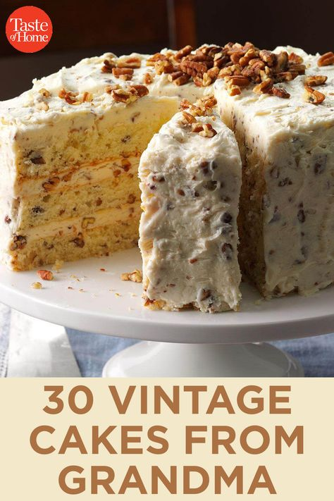 From fluffy angel food to charming butter pecan vintage cakes are making a comeback. Bake your way through this collection of classic recipes and make your grandma proud. Make sure you have the right cake supplies to set your dessert up for sweet success Just Desserts, Delicious Desserts, Dessert Recipes, Recipes For Cakes, Homemade Cake Recipes, Best Cake Recipes, Gourmet Desserts, Picnic Recipes, Baking Desserts