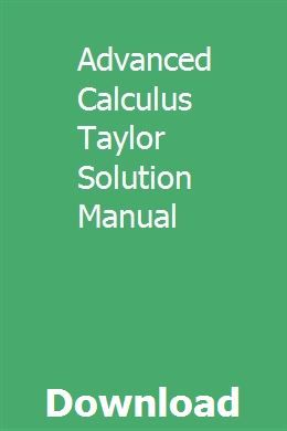 Advanced Calculus Taylor Solution Manual Calculus Autocad Tutorial Solutions