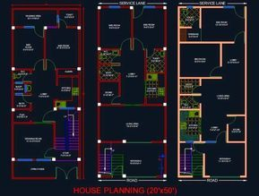 House Architectural Planning Floor Layout Plan 20 X50 Dwg File Simple House Plans 2bhk House Plan Floor Layout