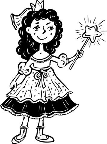 Princess Girl With Wand Coloring Page Free Printable Coloring Pages In 2021 Coloring Pages For Girls Coloring Pages Free Printable Coloring