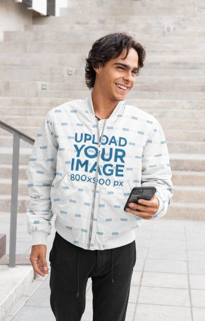 Download Placeit Bomber Jacket Mockup Featuring A Man With A Phone Clothing Mockup Bomber Jacket Jackets