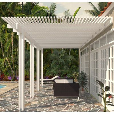 24 ft W x 12 ft D White Aluminum Attached Pergola - 10 lb Roof Load – Heritage Patios