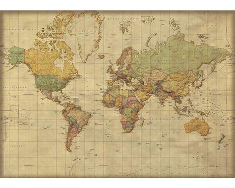 Poster Weltkarte Vintage Look 100x140 Cm In 2020 Weltkarte