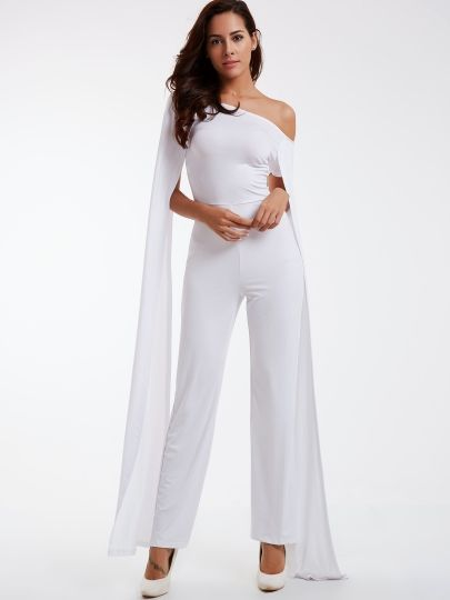 White Boat Neck Wide Leg Women S Jumpsuit Pantsuits For Women Jumpsuits For Women Jumpsuits For Women Formal
