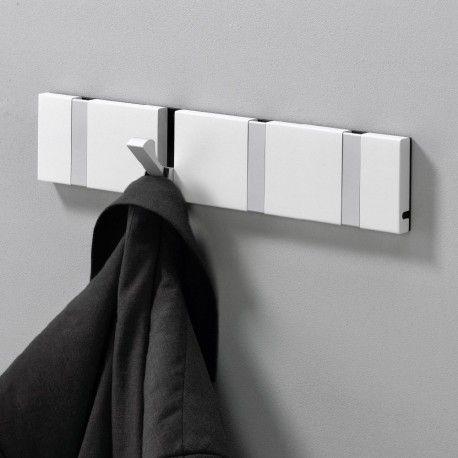 White Wall Mounted Coat Rack With Flip Hooks Denmark Since 1995 In 2020 Wall Mounted Coat Rack White Walls Coat Rack