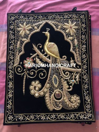 Peacock Wall Hanging Jewel Carpet Kashmir Hand Embroidery Indian
