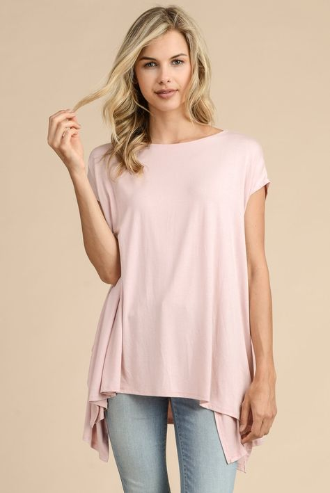 MODAL FABRIC TOP TUNIC WITH FLUID-DRAPING Available in Mauve, Denim and Salmon 96% RAYON MODAL 4% SPANDEX