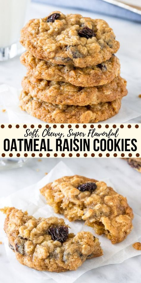 These classic oatmeal raisin cookies are made with brown sugar cinnamon vanilla and lots of oats. They're soft and chewy never dry and definitely win in the flavor and texture categories for the perfect homemade oatmeal raisin cookie. Soft Oatmeal Raisin Cookies, Oatmeal Cookie Recipes, Easy Cookie Recipes, Sweet Recipes, Homemade Oatmeal Cookies, Oatmeal Raison Cookies, Oatmeal Cinnamon Cookies, Simple Oatmeal Cookies, Raisen Cookies