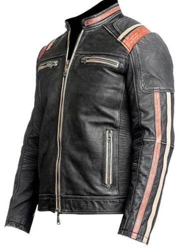 CAFE RACER MOTO Veste en cuir moto retro veste en cuir Vintag Veste en cuir