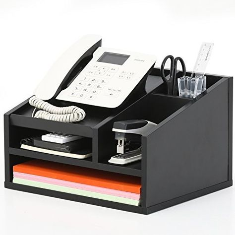 FITUEYES Wood Office Suppies Desk Organizer 5 Compartments with Letter Tray,Phone Stand,Pen Pencil Holder,Black (TR303501WB) - BoughtAgain