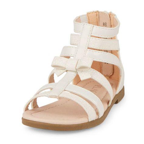 61e12772dffd Baby Girls Toddler Sparkle Gladiator Sandals - White - The Children s Place