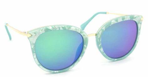 b7eef430f Óculos de Sol Estilo Gatinha Marmorizado Lente Espelhada Azul - Bijoulux  Acessórios