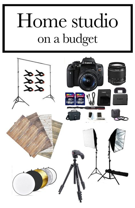 Online Photography Jobs - Everything you need for a home photography studio on a budget - Jennadesigns Photography Jobs Online Photography Jobs, Photography Lessons, Photography Equipment, Photography Business, Light Photography, Photography Tutorials, Digital Photography, Portrait Photography, Photography Studios