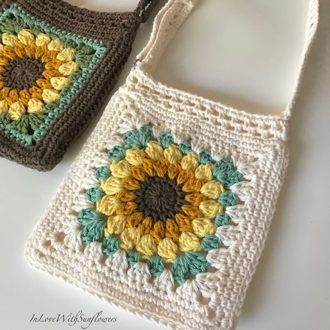 Crochet Purse with crossbdy strap adjustable - Handmade Purse - Sunflower Purse - Crochet Bag, Vegan, Gift for Her - Gift for Mom - Boho - Source by and purses boho Crochet Sunflower, Crochet Flowers, Doilies Crochet, Crochet Handbags, Crochet Purses, Crochet Amigurumi, Knit Crochet, Crochet Stitches, Crochet Patterns