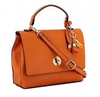 Überschlagtasche L.Credi Cassandra orange Drehverschluss