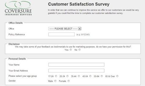 Coversure Customer Satisfaction Survey, wwwversureuk\/secure - satisfaction survey