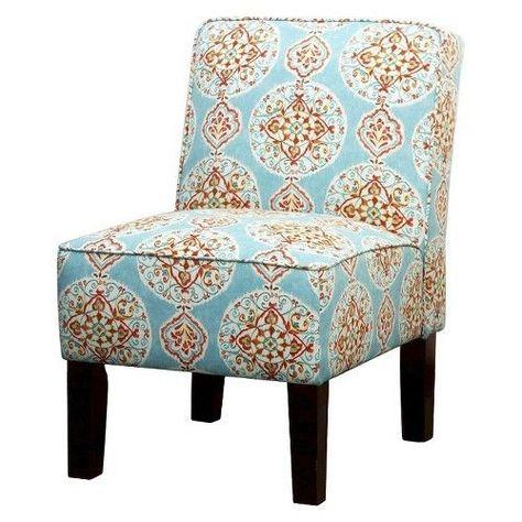 Burke Armless Slipper Chair Blue Orange Medallion Chair Blue