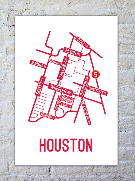 Houston Street Map Poster Printed With Environment Friendly Ink