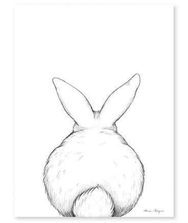 Affiche Enfant Lapin De Dos Dessin Lapin Illustration De Lapin Dessin Facile Animaux