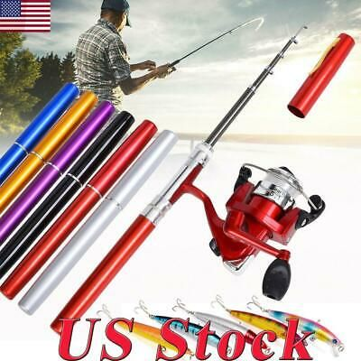 Telescopic Mini Portable Pocket Fish Pen Aluminum Alloy Fishing Rod Pole+Reel