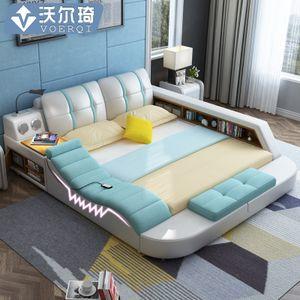 Smart Massage Multi Function Tatami Wedding Bed Master Bedroom Double Bed 1 8m Modern Minimalist Leather Bed Leather Bed Tatami Bed Modern Bed