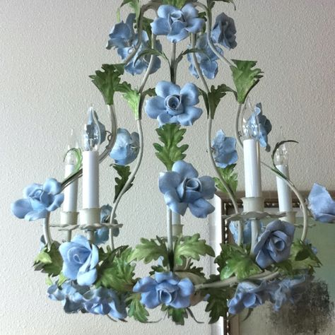 Vintage Italian tole chandelier hand painted with blue flowers.