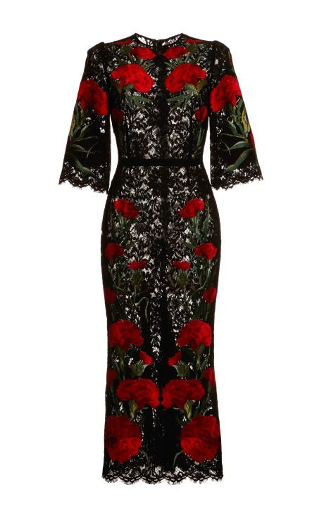 Dolce & Gabbana Carnation Embroidered Long Lace Dress and other apparel, accessories and trends. Browse and shop 8 related looks.