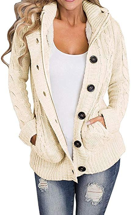 Enjoybuy Womens Cardigan Sweater Hooded Open Front Cable