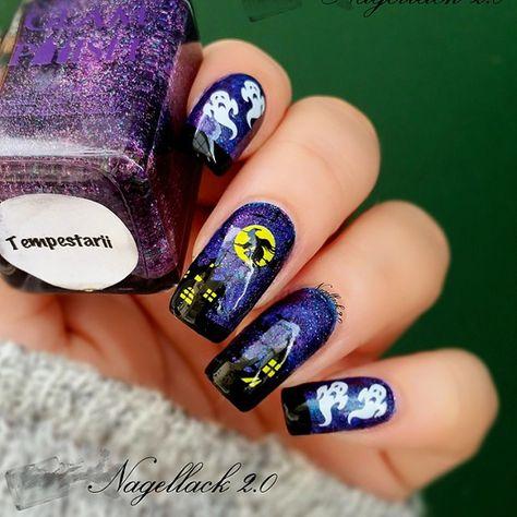 Amazing Haunted House Nails By Lfcmaus Nails Nail Art Halloween Nails